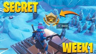 FORTNITE WEEK 1 SECRET BATTLE STAR LOCATION SEASON 7 (HIDDEN BATTLE STAR)