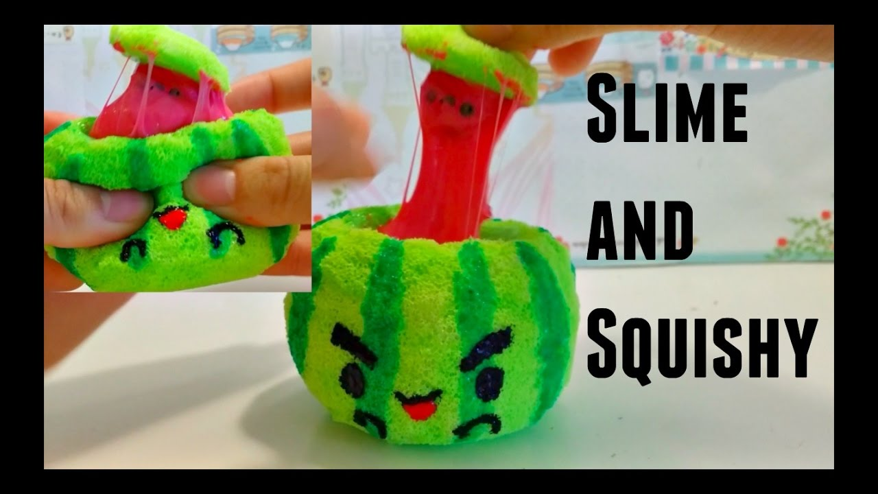 Squishy Maker Gudang Slime : DIY Watermelon squishy w/slime - YouTube