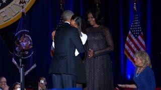 Obamas, Bidens take stage together