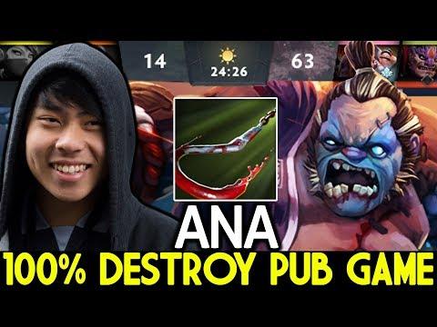 ANA [Pudge] Pro Pudge Mid 100% Destroy Pub Game 7.22 Dota 2
