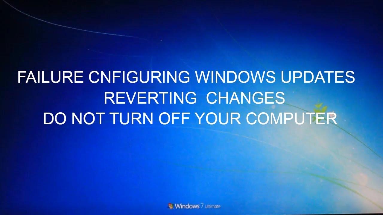 failure configuring windows updates reverting changes endless loop