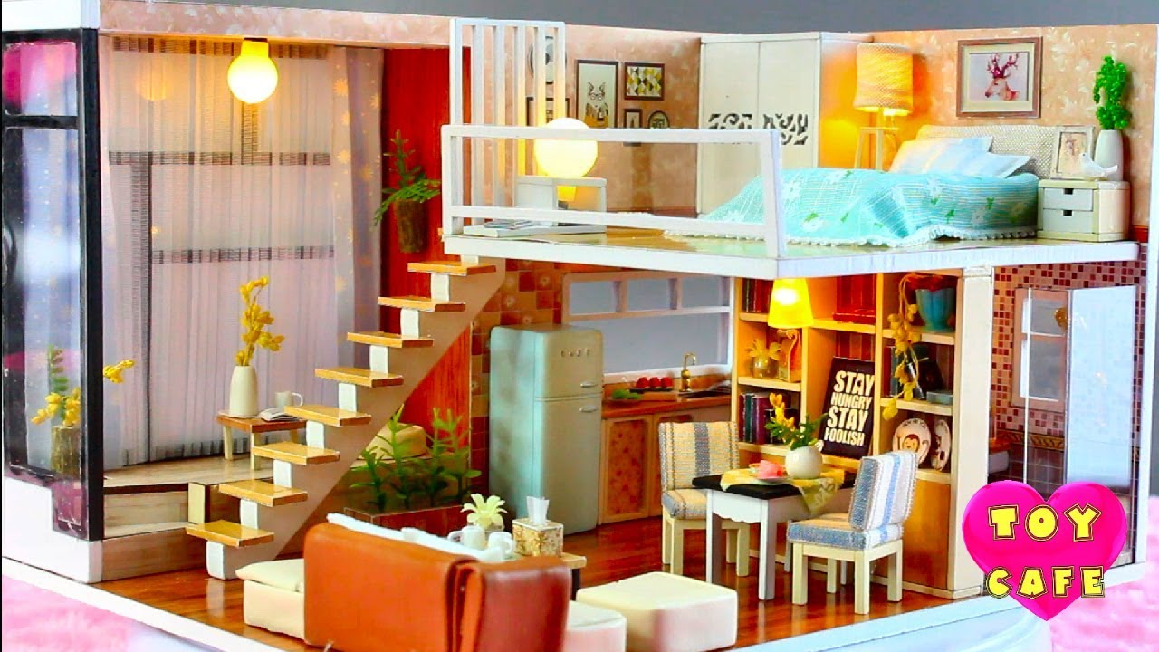 Modern apartment diy miniature dollhouse kit with working lights