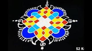 latest rangoli designs wih 7X3 dots * sikku kolam with dots  * simple melikala muggulu