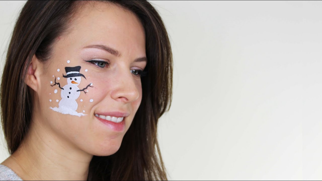 Christmas Face Painting Ideas.Easy Snowman Face Painting