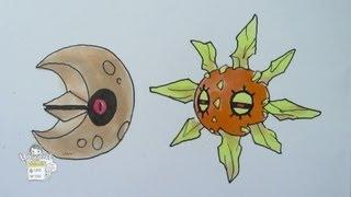 How to draw Pokemon: No. 337 Lunatone, No. 338 Solrock