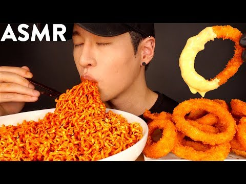 ASMR NUCLEAR FIRE NOODLES & CHEESY ONION RINGS MUKBANG (No Talking) EATING SOUNDS | Zach Choi ASMR