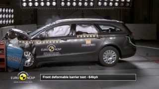Euro NCAP Crash Test of Ford Mondeo 2014(Euro NCAP Frontal Impact takes place at 64 Km/h, 40% of the width of the car striking a deformable barrier. In the side impact, a mobile deformable barrier ..., 2014-12-03T09:00:13.000Z)