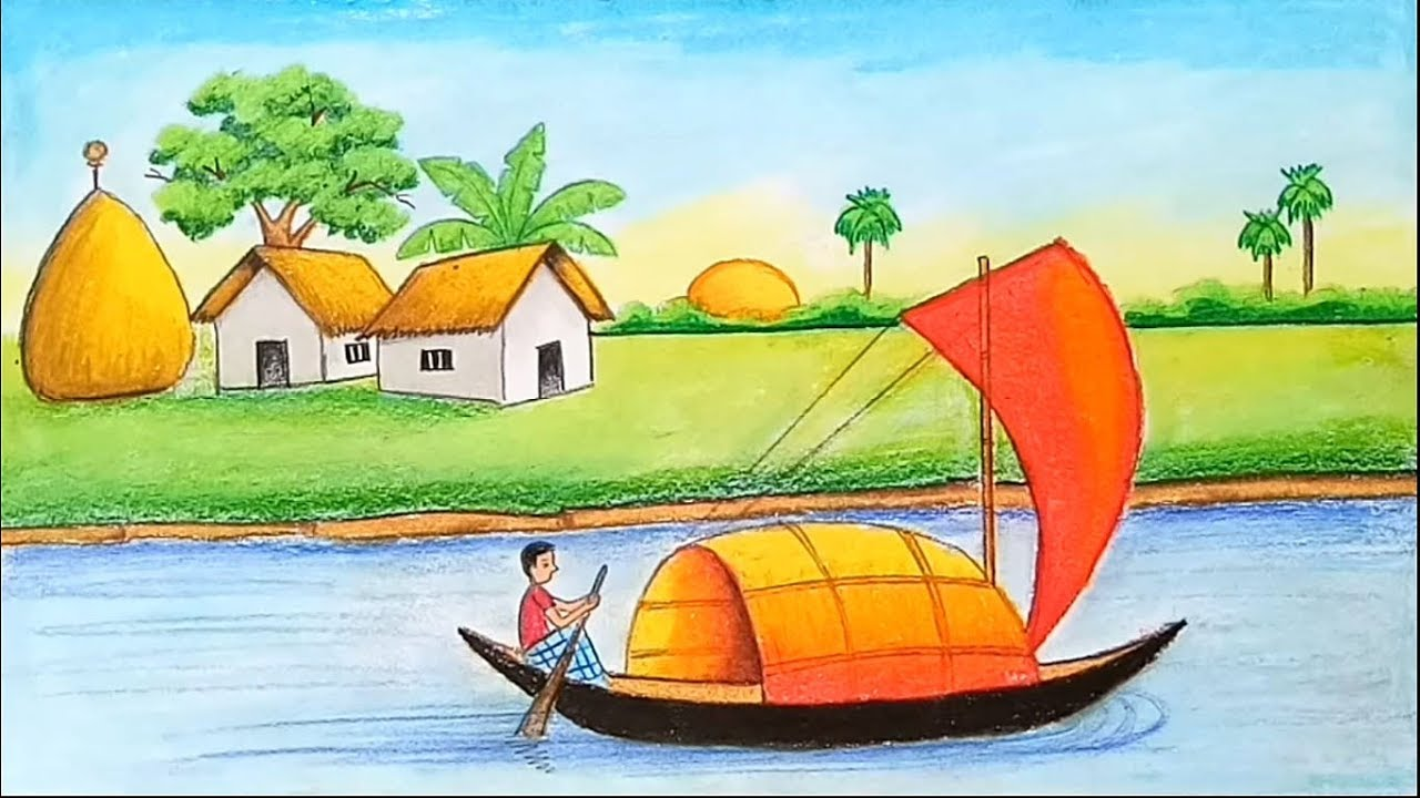 How To Draw Landscape Scenery Of Beautiful Nature Village Scenery With Oil Pastel Youtube