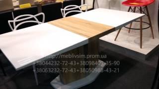 Глянцевые столы для дома и офиса. Стол раскладной AT42(Глянцевые столы. Стол раскладной AT42. Цвет белый глянец+дуб. Размер,мм 1300(+400)х800х750. Интернет-магазин мебели..., 2016-07-19T10:52:33.000Z)