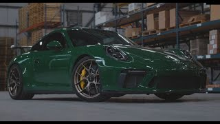 This is a car sure to make you green with envy!  Check out footage of this souped up shamrock colored Porche GT3 riding out on bronze colored BBS FI-R wheels.   Follow this amazing automobile as it rips around the streets of Atlanta, then takes a trip ins