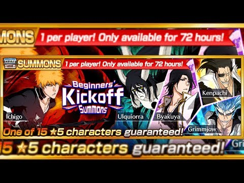 Bleach Brave Souls: Begginer's KickOff Summons!!! Pegando 5* Garantido!!!