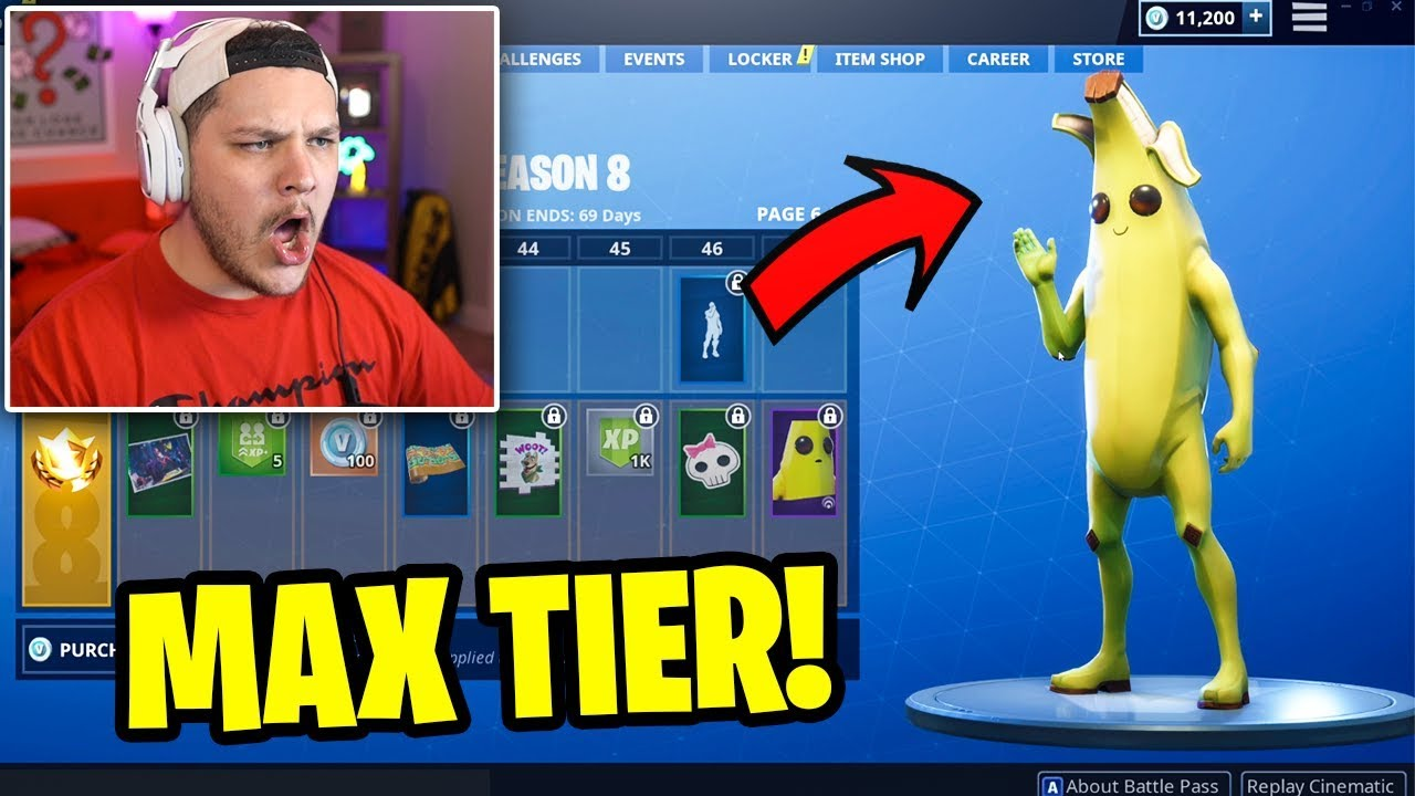 Buying All 100 Battle Pass Tiers Fortnite Season 8 Youtube