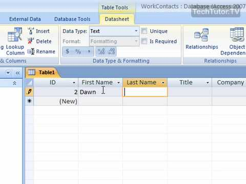 how to create table in ms access 2007