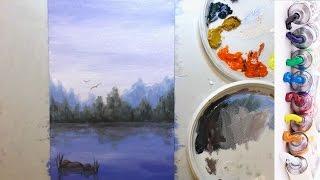Пишем картину маслом ПОШАГОВО. Пейзаж с водой.
