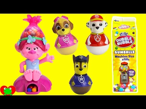 Trolls Movie Poppy Gumball Machine with Paw Patrol Weebles