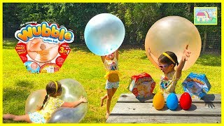 Playing w/ Big Wubble Bubble Ball in our Backyard & Surprise Eggs! Outdoor Play