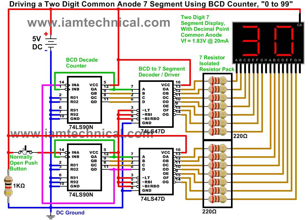 Driving a Two Digit Common Anode Seven Segment Display Using 74LS90 BCD Decade Counter