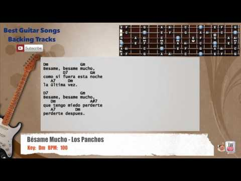 Besame Mucho - Los Panchos Guitar Backing Track with scale, chords and lyrics