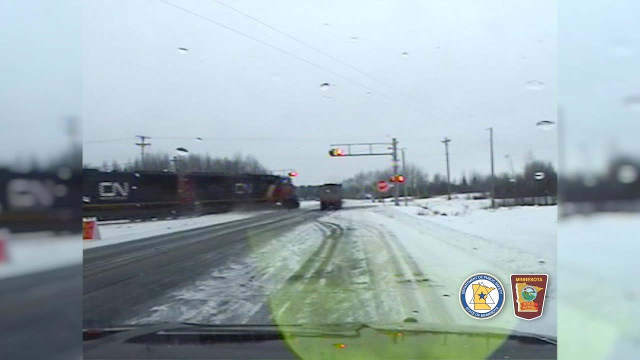 msp dash cam  train strikes semi