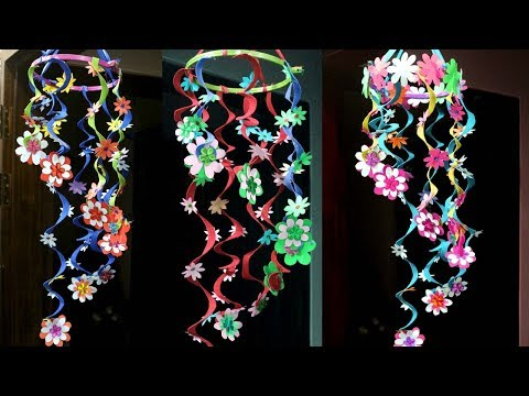 How to make wind chimes out of paper - Make wind chimes using paper - Paper wind chimes craft ideas