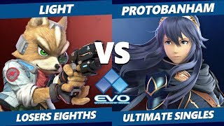 EVO 2019 SSBU - Rogue | Light (Fox) Vs Protobanham (Lucina) Smash Ultimate Tournament Losers Eighths