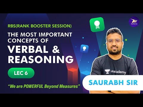 The Most Important Concepts of Verbal & Reasoning | L:6 | RBS (Rank Booster Session) GATE 2021