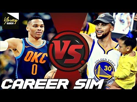 SIMULATING STEPHEN CURRY VS.RUSSELL WESTBROOK'S NBA CAREERS ON NBA 2K18!! #Careersimvs