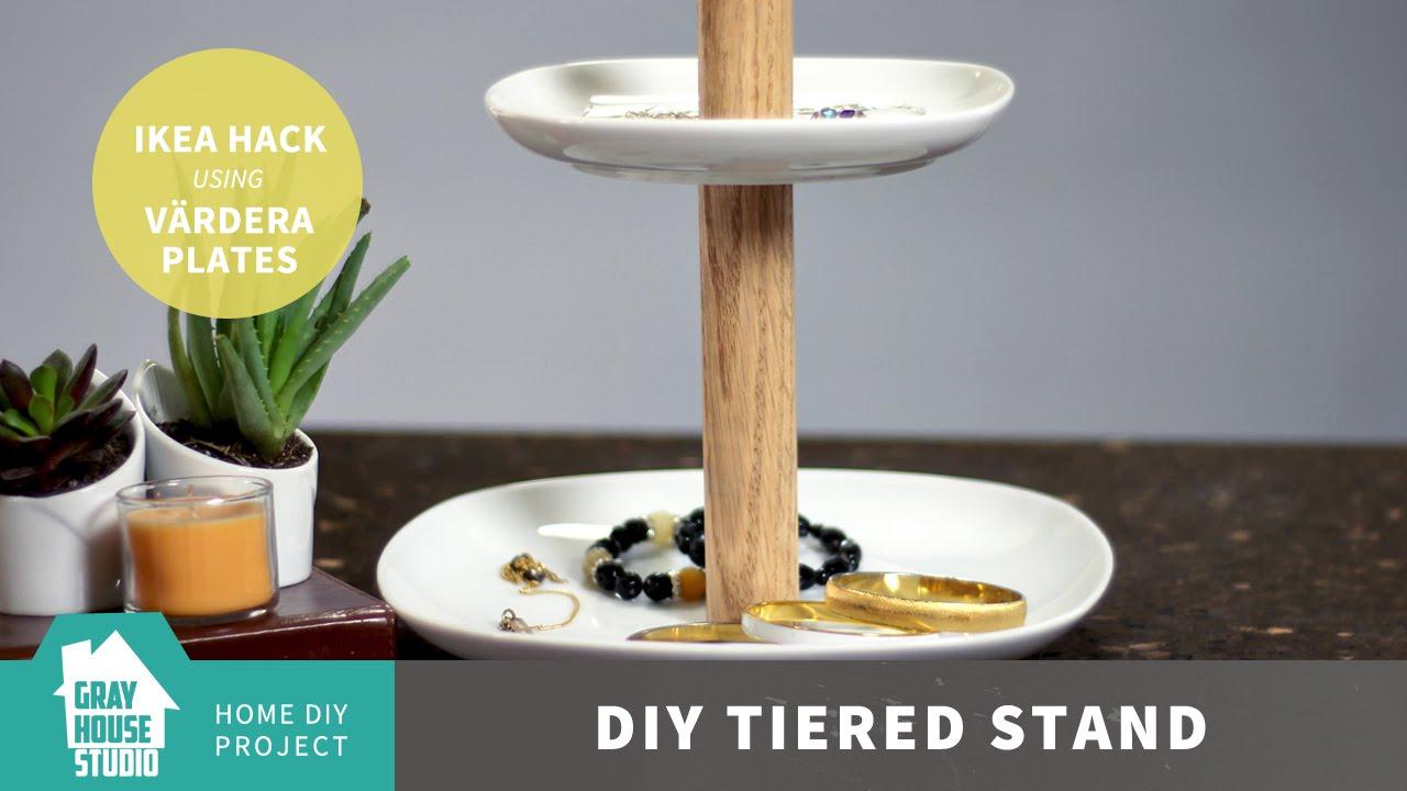 DIY Tiered Stand - IKEA Hack with VÄRDERA Plates & DIY Tiered Stand - IKEA Hack with VÄRDERA Plates - YouTube