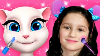 My Talking Angela Took Alice to Tablet | Alice plays with funny cats | Dance and Makeup
