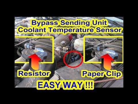 Bypass ECT Coolant Temperature Sensor Sending Unit + Paper Clip Resistor P0128 Car Truck S10