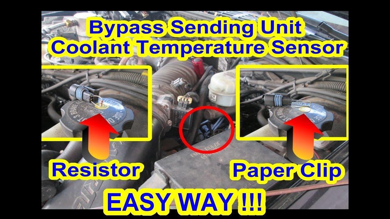 bypass ect coolant temperature sensor sending unit paper clip resistor p0128 car truck s10 [ 1280 x 720 Pixel ]