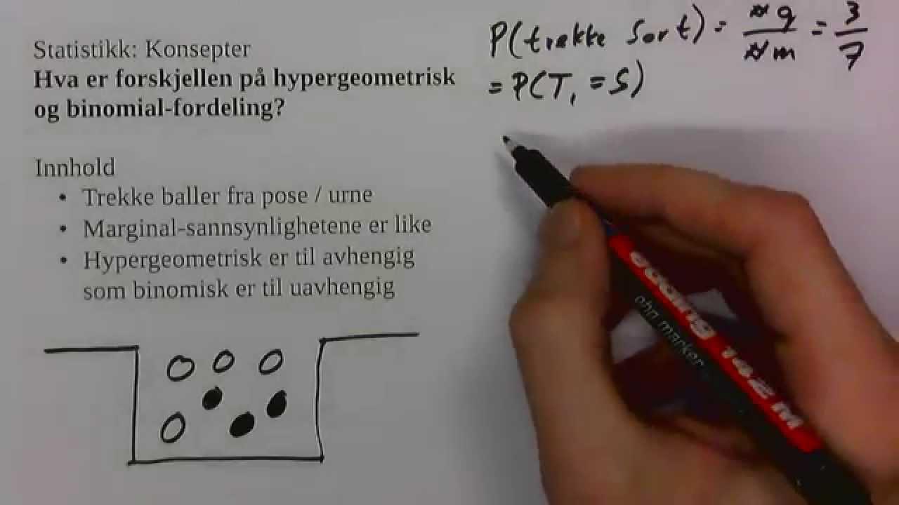 Hva er forskjellen på hypergeometrisk og binomial-fordeling?