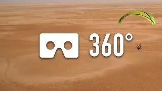 Paragliding fly above Chott El Jerid - 360° VR thumbnail