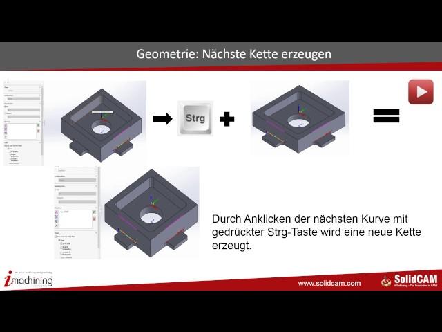 SolidCAM 2016 - Geometrie Kette mit STRG Taste auswählen