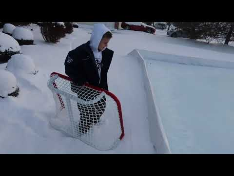 Kids HocKey Setting Up Outdoor Ice Rink 2x