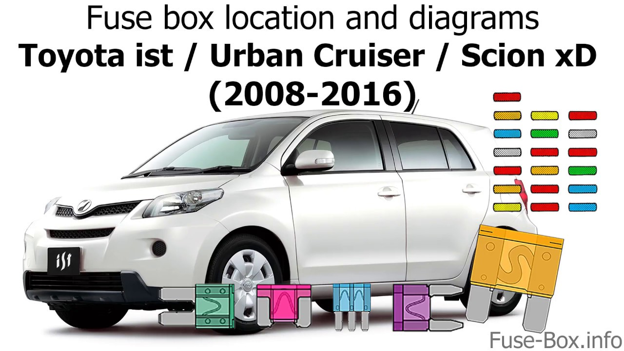 fuse box location and diagrams toyota ist urban cruiser scion xd 2008 2016  [ 1280 x 720 Pixel ]
