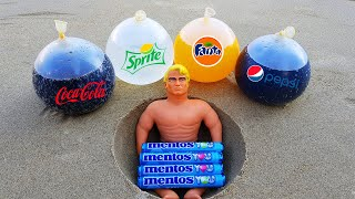 Experiment !! BALLOONS vs Stretch Armstrong Underground Pepsi, Coca Cola, Fanta and Mentos