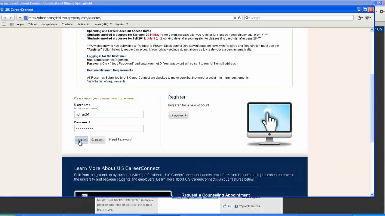 Accessing Optimal Resume Via Uis Careerconnect Youtube