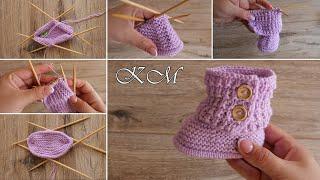 Безшовные Пинетки – сапожки спицами «Розовый песок» | Baby Booties «Pink sand» knitting patterns