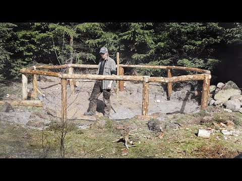 Fire Cabin - Bushcraft build with hand tools. (2) The ground structure