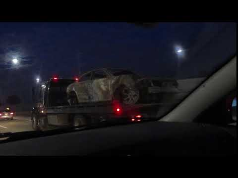 Charred Car Remains on I-88 Illinois 3-30-18