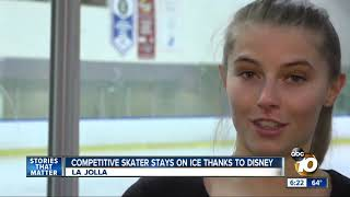 Competitive skater stays on ice thanks to Disney