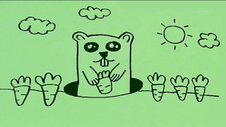 ART LESSON 131: HOW TO DRAW CARTOON Groundhog STEP BY STEP - FOR BEGINNER