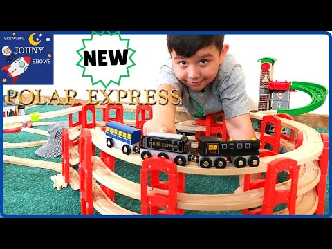 Johny Unboxes New Wooden Polar Express Train Toy & Builds Giant Wooden Track Layout