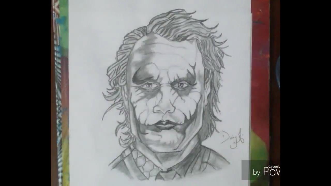 Pencil sketch of joker the dark knight