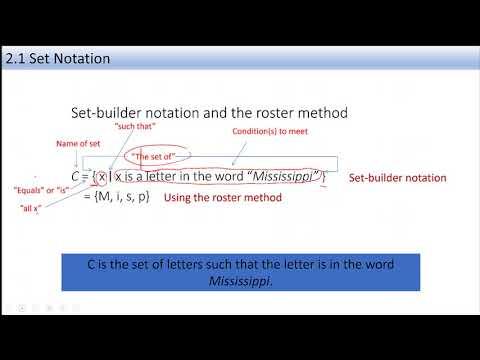 MATH 110 Sec 2 1 Set Notation