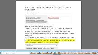 Fix STATUS_BAD_IMPERSONATION_LEVEL error in Windows 10