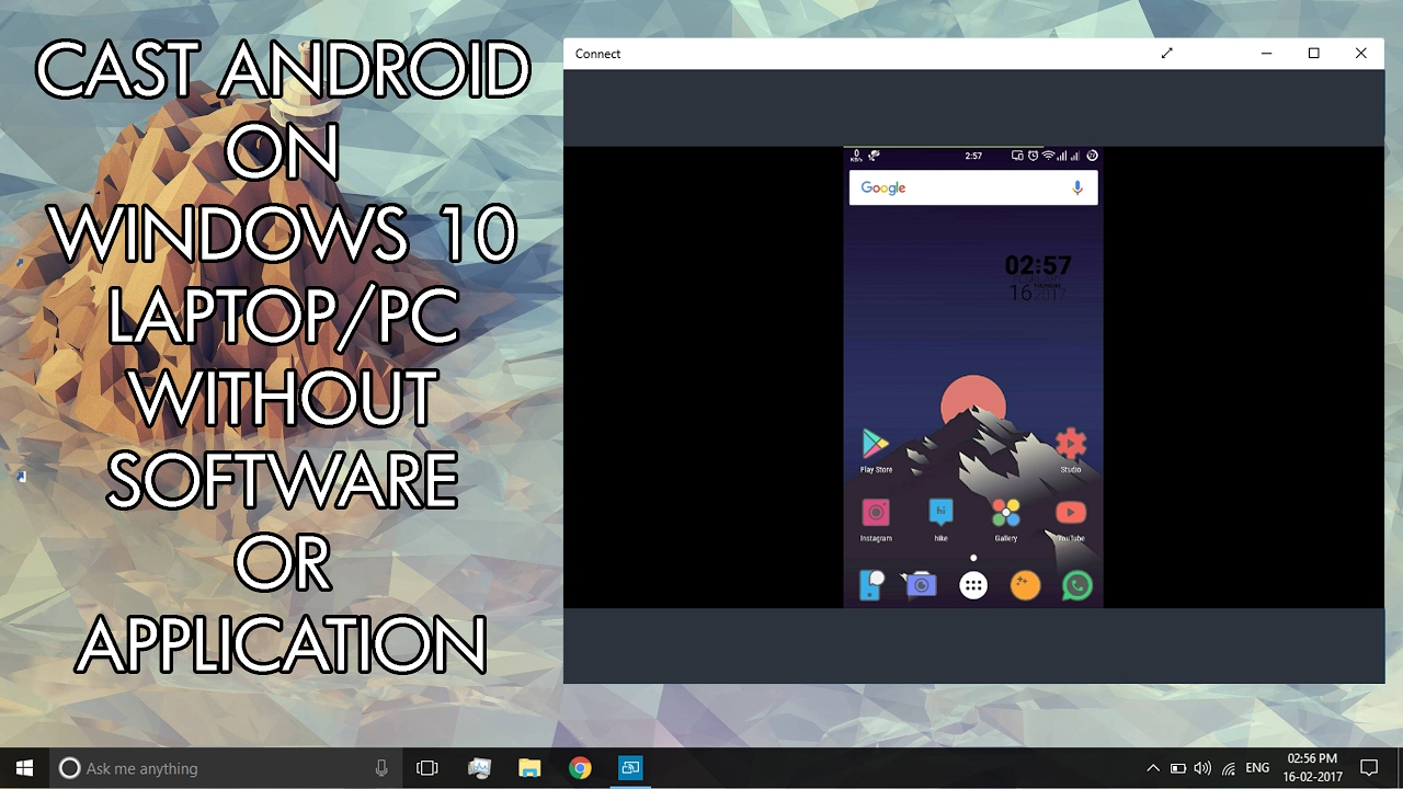 application android sur windows 10