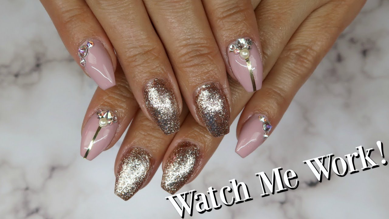 Rose Gold and Neutral Gel Nails | Tutorial - YouTube