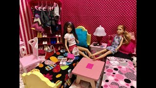 Barbie Bedroom Morning Routine! Skipper and Stacie!!